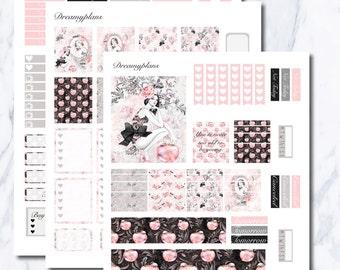 Snow White Printable Vertical Erin Condren Planner Stickers Kikki K Personal