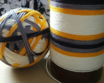 DYED TO ORDER: Hand Dyed Self Striping Sock Yarn ~ Little Droid ~White, orange,silver,black stripes