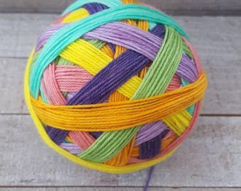 DYED TO ORDER: Easter/Spring 7 color Self Striping Sock Yarn, - Spring has Sprung