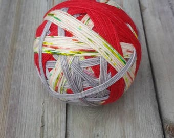 DYED TO ORDER: Hand Dyed Self Striping and Speckled Christmas Sock Yarn ~ Christmas Sprinkles - red and silver stripes, green, Red speckles
