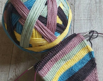 DYED TO ORDER: Hand Dyed Self Striping Sock Yarn ~ Parasols and Lace