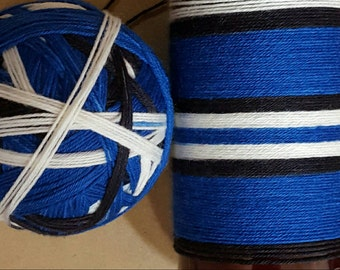 DYED TO ORDER: Hand Dyed Self Striping Sock Yarn ~  Bigger on the Inside ~ blue, white, black stripes, Dr. Who Inspired Yarn