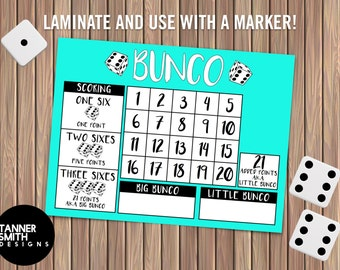 BUNCO Card Digital Download   Tanner Smith Designs