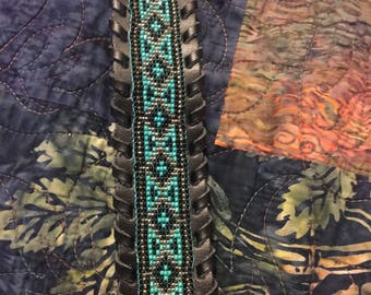 Leather Turquoise Bracelet Mans Beaded Turquoise And Silver