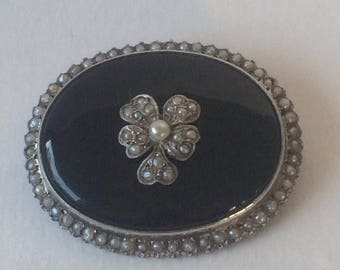 Antique Victorian Mourning Brooch with Violet and Seed Pearls