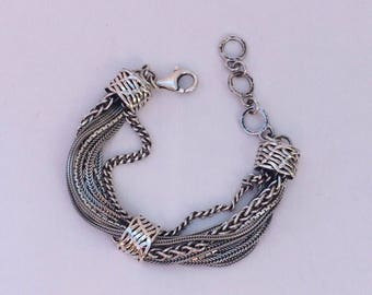 "Silpada ""Talk of the Town"" Sterling Silver Bracelet Multiple Strands"