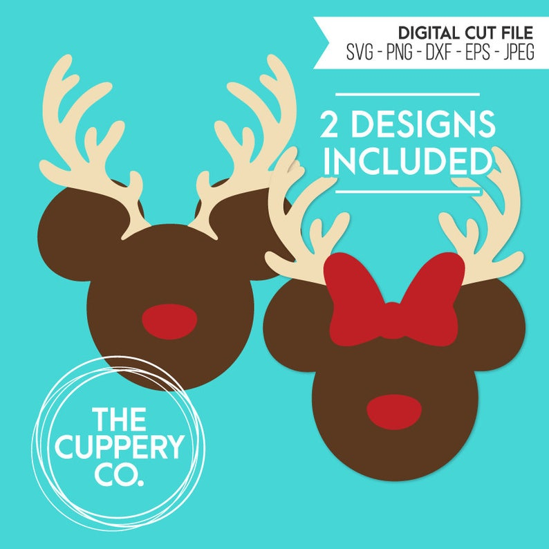 Mickey Minnie Reindeer Heads  SVG Disney Digital file image 0