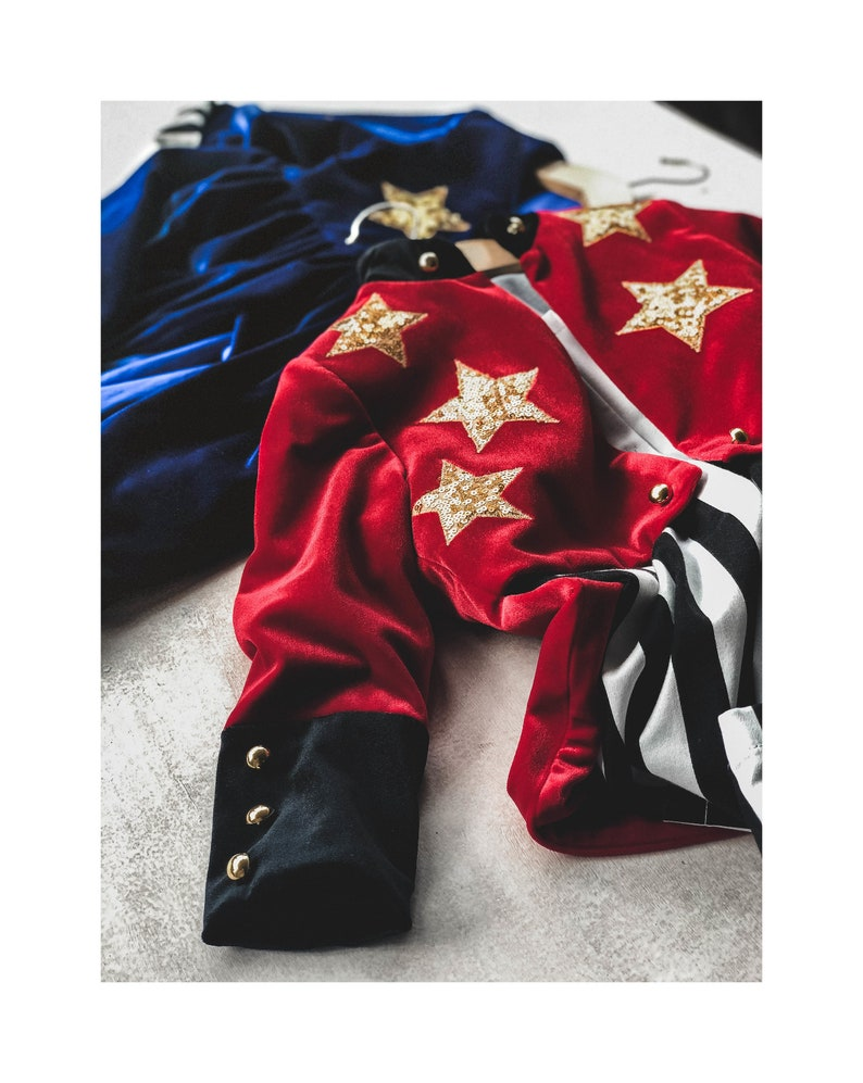 Halloween Costume Circus Costume Red Velvet Coat Circus Party Magician Party Kids Magician Tailcoat Ringmaster Costume