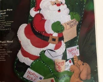 "NEW sealed Bucilla Letters to Santa Christmas Stocking kit puppy dog 18"" from 2004  # 85106 shipping 4.89"
