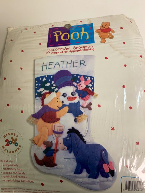 New Sealed Bucilla Disney Winnie The Pooh Decorating Snowman Christmas Stocking Kit From 84145 18 Free Letters If Interested