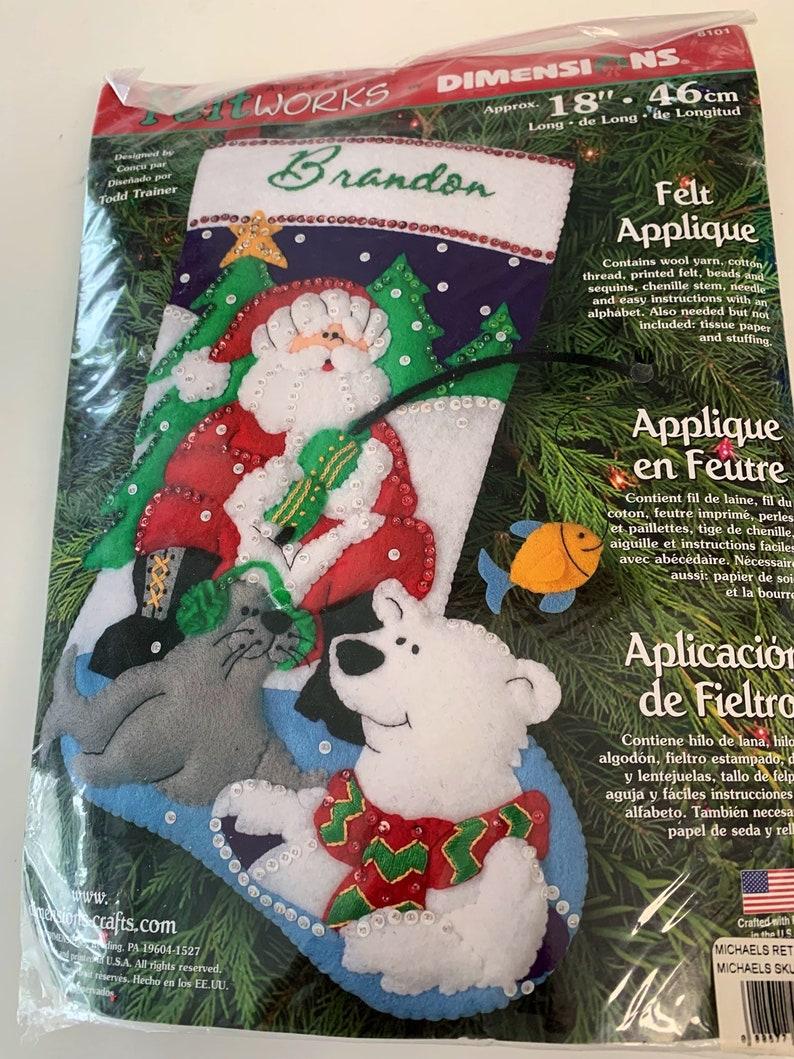 NEW sealed Feltworks - like Bucilla - Santa fishing stocking kit 18