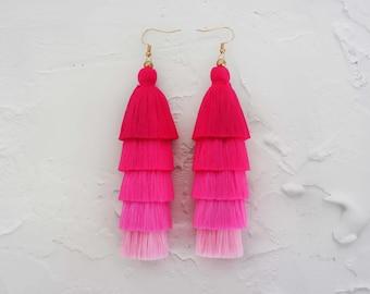 5 Layered Pink Tassel Earrings, Hmong Earrings