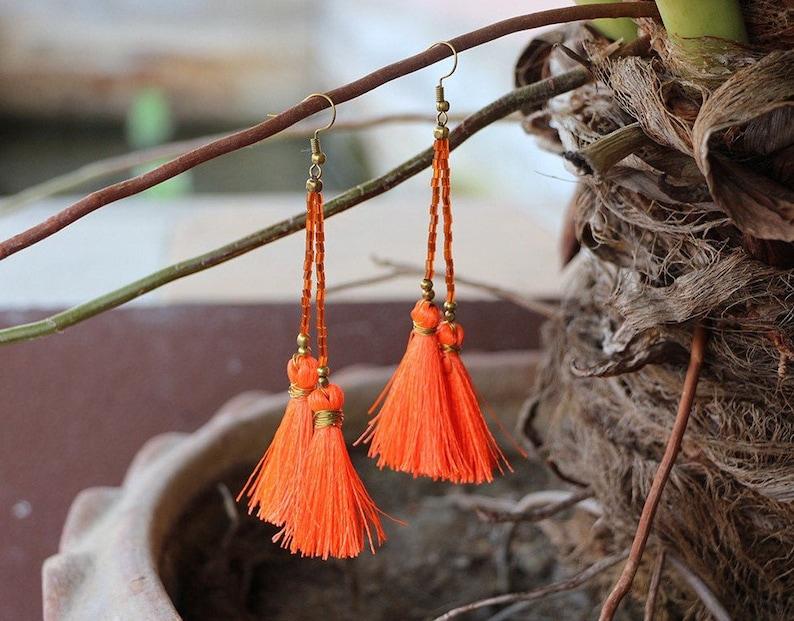Hot Orange Tassel Earrings With Glass Beads Handmade Thailand