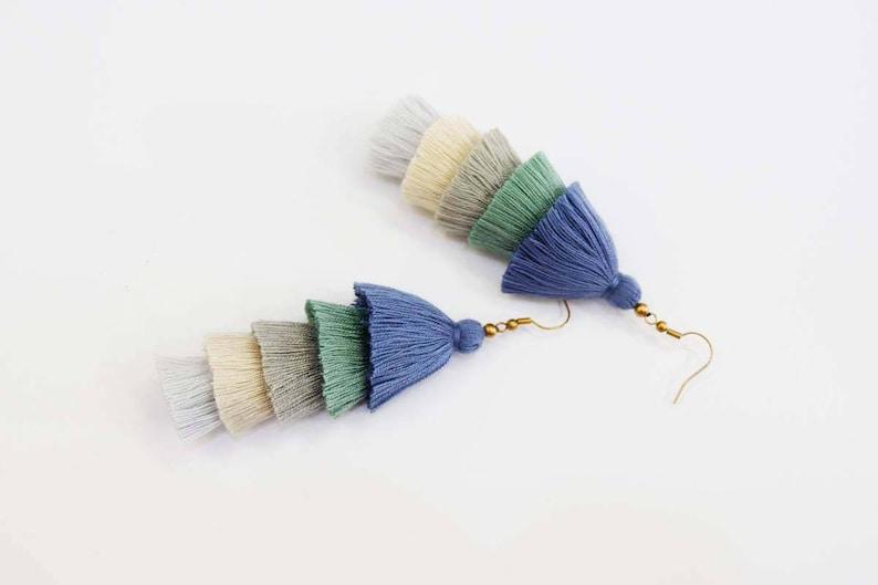 Handmade 5 Layered Tassel Earrings