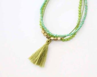 Tribal Ethnic Jewelry Olive Beaded Bracelet Tassel