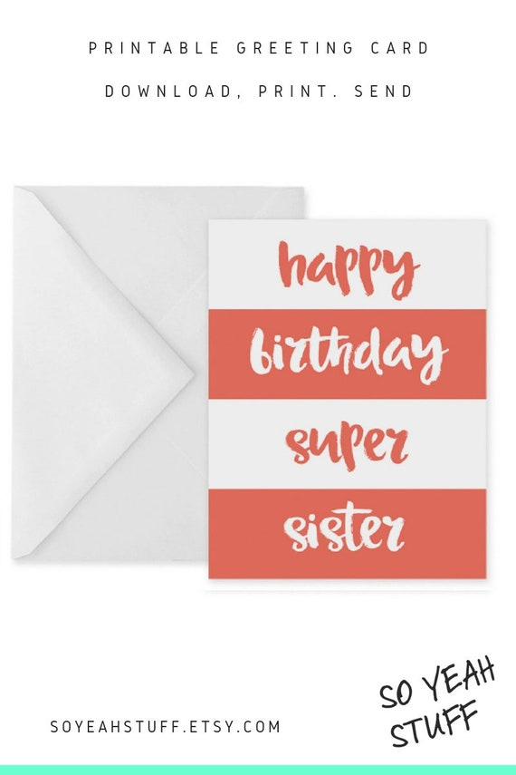 It is a photo of Refreshing Printable Birthday Cards for Sister