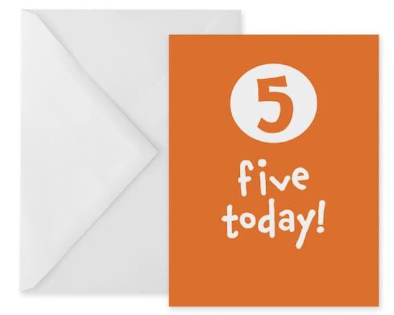 5th Birthday Card Printable Orange