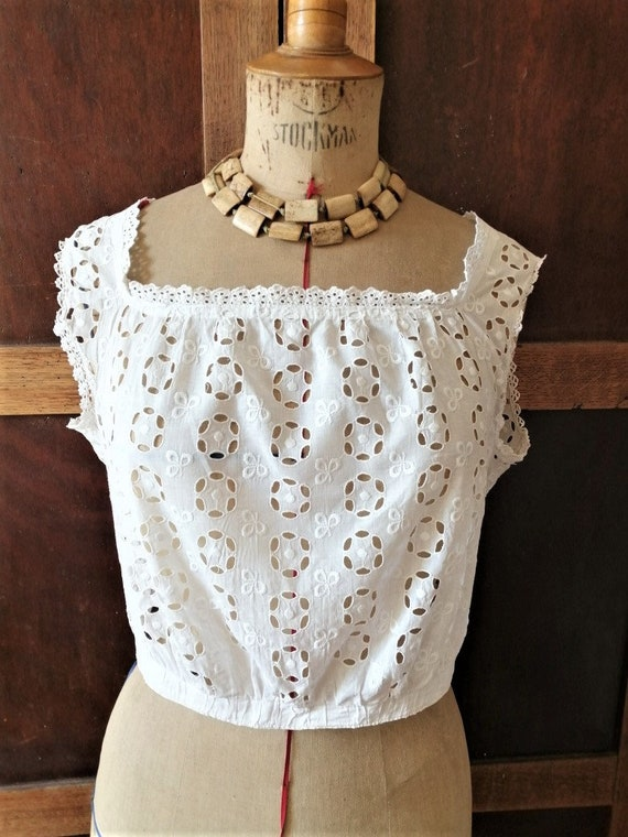 Antique French camisole, cache corset, Broderie An