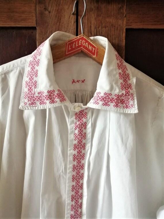 Antique French men's White Edwardian dress shirt,