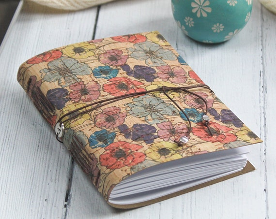 A6 Faux Leather Floral Poppies Cork Notebook. Eco Friendly Journal
