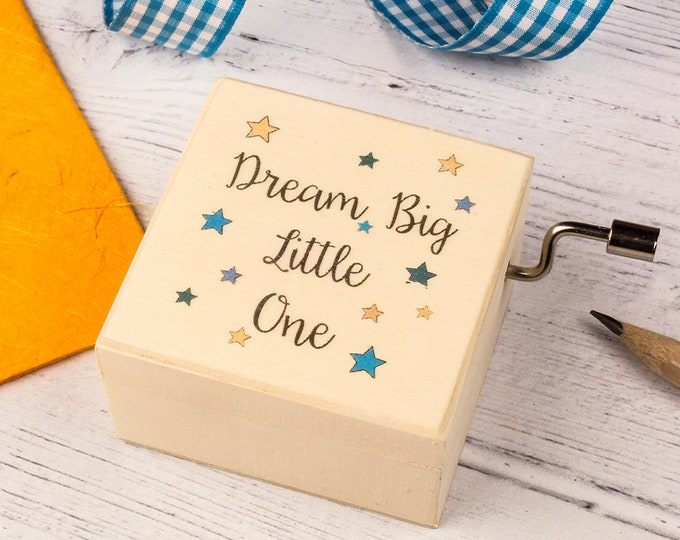 Music Box, Dream Big Little One, Baby Shower Gift, New Baby Gift, Christening Gift, Baptism Gift, New Mum Gift, Brahms Lullaby, Dream Big