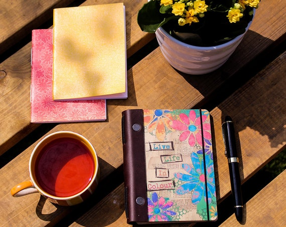 Refillable Notebook. Wooden Midori-Style Re-usable Journal. Live Life In Colour