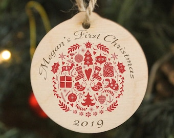 Baby First Christmas, Personalised Wood Folk Art Christmas Tree Ornament. Noel Decoration. A Perfect gift for New Parents