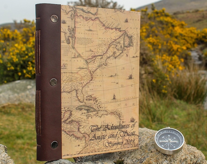A5 Travel Journal. Personalised Wooden Notebook. Travel Photo Album or Diary