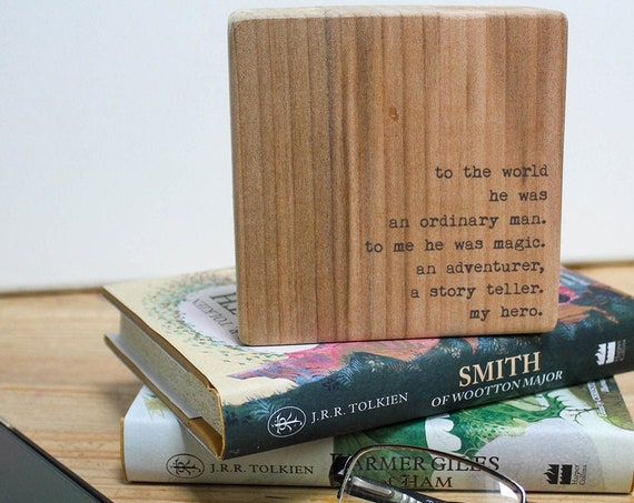 Father's Day Gift. Personalised Wooden Quote Block. Desk Ornament