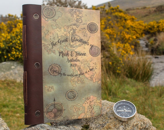 A5 Travel Journal. Personalised Wooden Notebook. Travel Photo Album and Diary