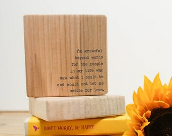 Personalised Wooden Thank you Gift. Quote Block. Teacher or Mentor Gift.