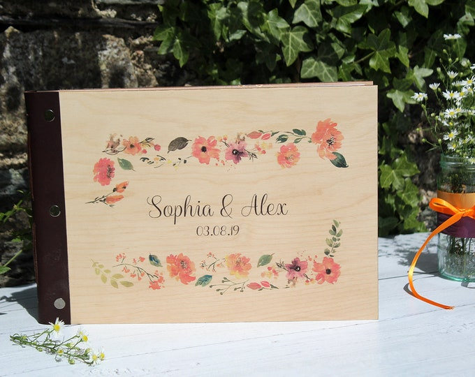 Floral Wedding Guestbook. A4 Custom Guestbook with Wooden Covers. Personalised Wood Photo Album. Wedding Planner Book in Burnt Orange