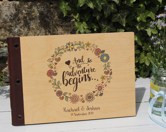 Rustic Wedding Guestbook. A4 Custom Guestbook with Wooden Covers. Personalised Wood Photo Album. Wedding Planner Book.