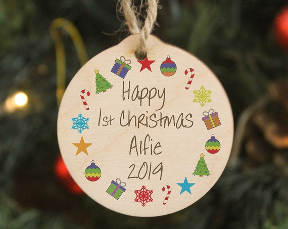 Baby First Christmas, Personalised Wood Christmas Tree Ornament. Noel Decoration. A Perfect gift for New Parents