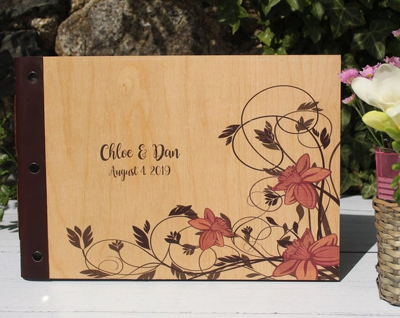 Personalised Wooden Wedding Guestbook | The Perfect Handmade Photo Album, Wedding Planner, Guest Book or Memory Book with Pink Flowers