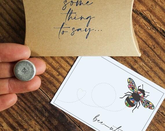 Bee-utiful Pocket Token. Personalised Card Alternative. Bee Lover's Pocket Hug