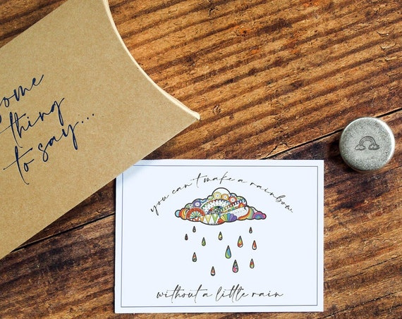 Pocket Token. Personalised Letterbox Gift.  'You Can't Have a Rainbow Without A Little Rain' Pocket Hug