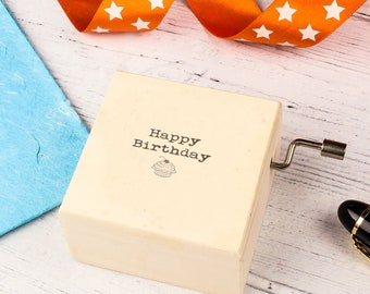 Happy Birthday Music Box. Unique Birthday gift for Friends and Family. Personalised Wooden Keepsake Box