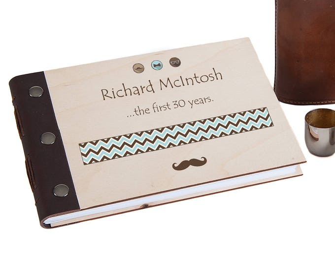 30th Birthday Personalised Wood Bound Photo Album, Memories, Guest Book, Leather Bound, Scrap Book