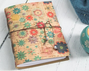 Eco Friendly Journal, A6 Faux Leather Floral Cork Notebook