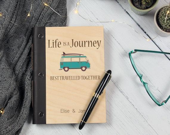 Van Life Travel Journal. Couple's Wooden Notebook. Personalised Honeymoon Gift with Camper Van. Our Adventure Book.