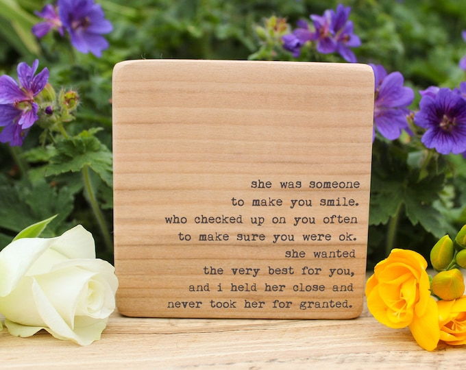 Featured listing image: Mother's Day Gift. Personalised Quote Block. Perfect keepsake for Mums.