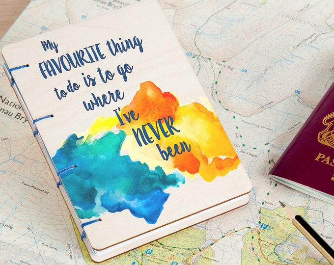 A6 Wood Cover Coptic Stitch Travel Journal, Colorful, Inspirational, Washi Tape