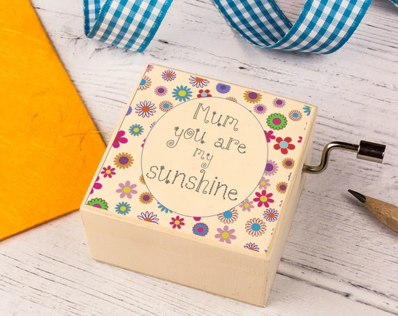 Music Box for Mum. You Are My Sunshine Personalised Wooden Keepsake Box. Beautiful gift for Moms.