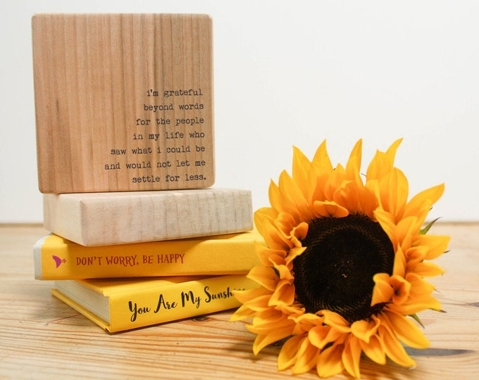 Featured listing image: Personalised Wooden Thank you Gift. Quote Block. Teacher or Mentor Gift.