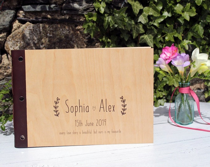 A4 Wedding Guestbook. Custom Guestbook with Wooden Covers. Personalised Wood Photo Album.