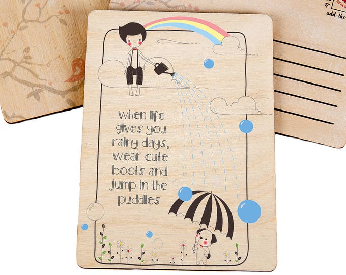 Thinking Of You Wooden Postcard Rainy Days - TreeMail