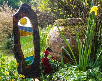 Wood and Glass Sculpture. Reclaimed Cherry Wood Art with Stained Glass Panel.