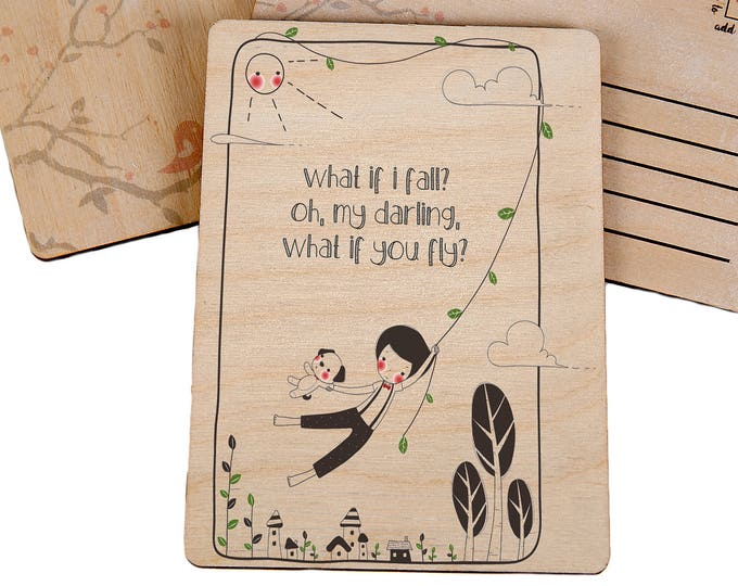 Inspirational Good Luck Wooden Postcard - TreeMail