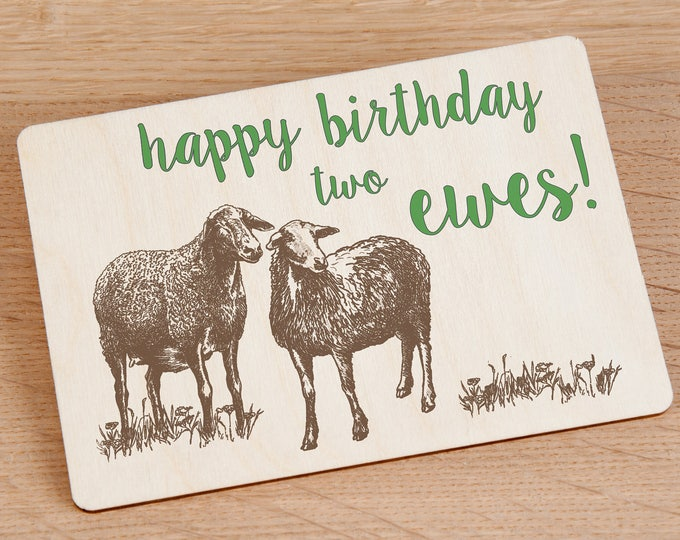 Happy Birthday Two Ewes! Wooden Birthday Postcard - TreeMail